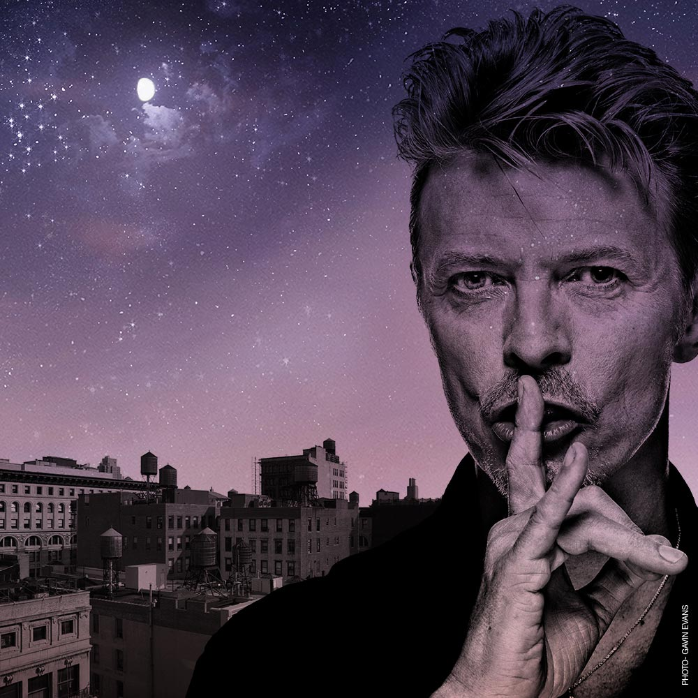 Purple image with David Bowie